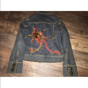 Unique embroidery dkny jean jacket peacock feather